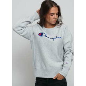 Champion Reverse Weave Big Script Crew Sweat melange šedá XL