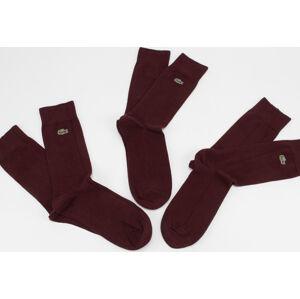 LACOSTE Cotton Blend Sock 3-Pack vínové