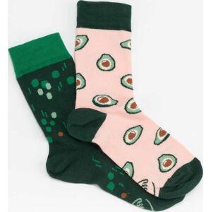 Many Mornings Green Avocado Socks tmavě zelené / růžové / zelené EUR 43-46