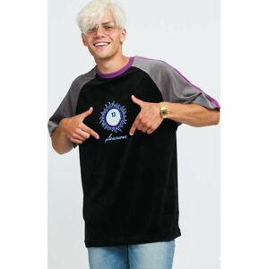 PLEASURES Grime Velour Shirt černé / šedé / fialové XL