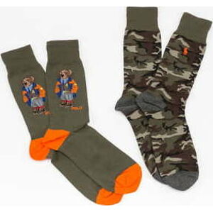 Polo Ralph Lauren 2Pack Seasonal Big Bears Socks olivové / hnědé