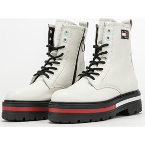 TOMMY JEANS Iridescent Eyelets Lace Up Boot ecru