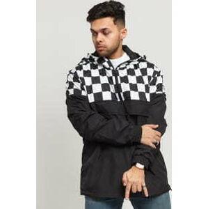 Urban Classics Check Pull Over Jacket černá / bílá