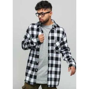 Urban Classics Checked Flanell Shirt černá / bílá 3XL