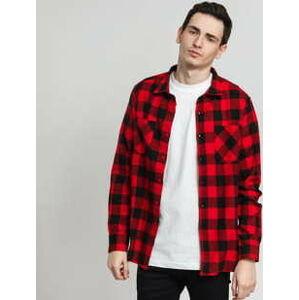 Urban Classics Checked Flanell Shirt černá / červená XXL