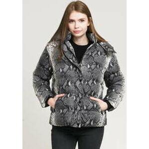 Urban Classics Ladies AOP Hooded Puffer Jacket tmavě šedá / krémová XL