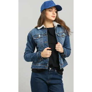 Urban Classics Ladies Sherpa Denim Jacket blue washed XL