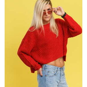Urban Classics Ladies Wide Oversize Sweater červený L