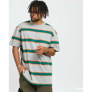 Urban Classics ight Stripe Oversize Tee melange šedé / tmavě zelené / oranžové